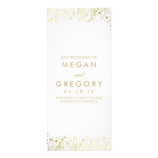 Baby's Breath Gold Floral Wedding Programs Rack Card Design