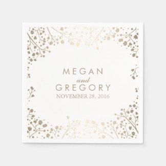 Baby's Breath Gold Floral White Wedding Disposable Serviette
