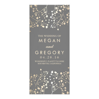 Baby's Breath Gold Foil Effect Wedding Programs Rack Card