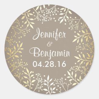 Baby's Breath Gold Foil Elegant Wedding Round Sticker