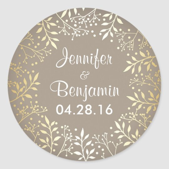 Baby's Breath Gold Foil Elegant Wedding Round Sticker