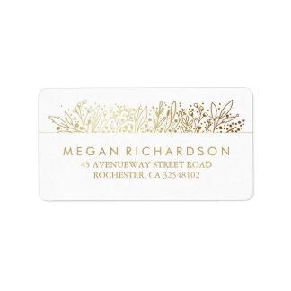 Baby's Breath Gold Foil Frame Floral Wedding Address Label