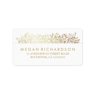 Baby's Breath Gold Foil Frame Floral Wedding Label
