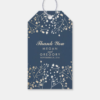 Baby's Breath Gold Foil Navy Wedding Gift Tags
