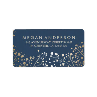 Baby's Breath Gold Foil Navy Wedding Label