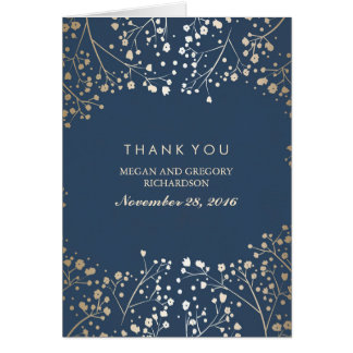 Baby's Breath Gold Foil Navy Wedding Thank You Card