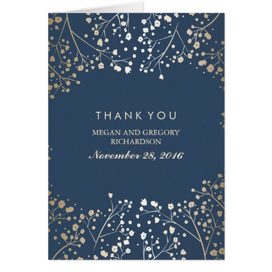 Baby's Breath Gold Foil Navy Wedding Thank You