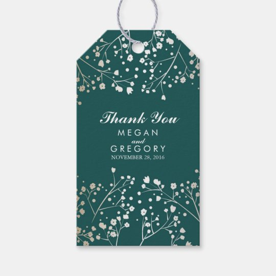 Baby's Breath Gold Foil Teal Wedding Gift Tags