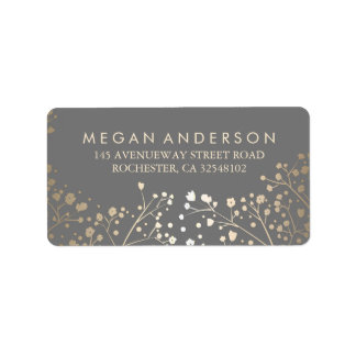 Baby's Breath Gold Foil Wedding Address Label