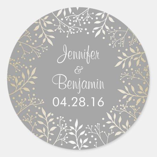 Baby's Breath Gold Foil Wedding Classic Round Sticker