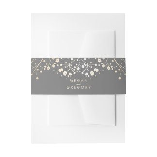 Baby's Breath Gold Foil Wedding Invitation Belly Band