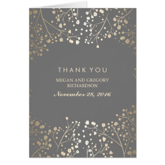 Baby's Breath Gold Foil Wedding Thank You Card