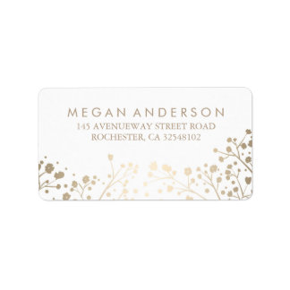 Baby's Breath Gold Foil White Wedding Label