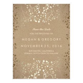 baby's breath gold kraft save the date postcard
