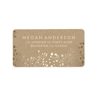 Baby's Breath Gold Kraft Wedding Address Label