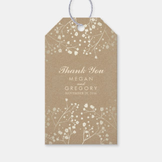 Baby's Breath Gold Kraft Wedding Gift Tags