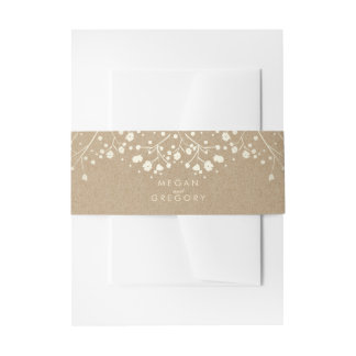 Baby's Breath Gold Kraft Wedding Invitation Belly Band