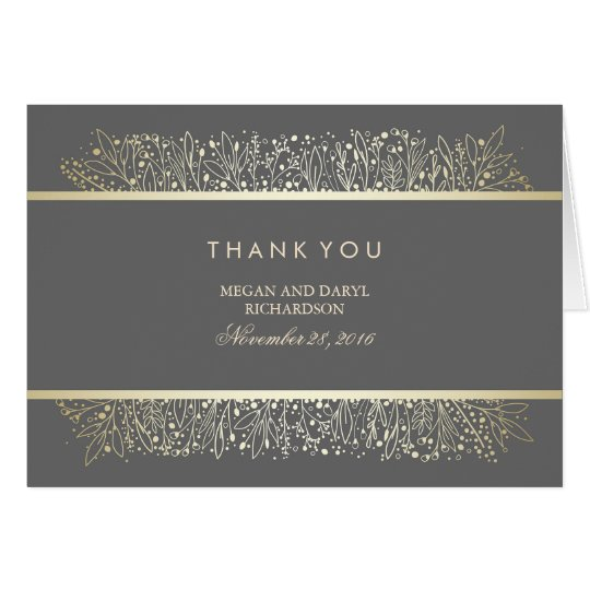 Baby's Breath Gold Vintage Wedding Thank You Card