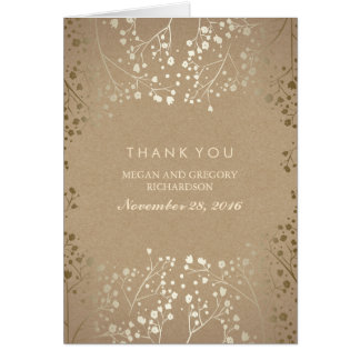 Baby's Breath Gold Wedding Thank You Card