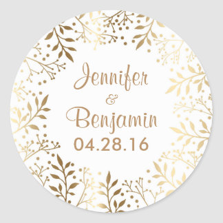 Baby's Breath Gold White Elegant Wedding Classic Round Sticker