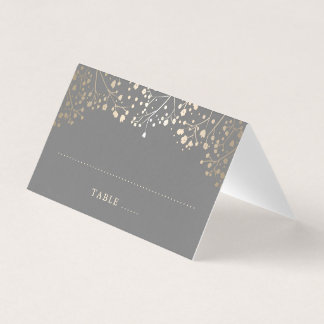 Baby's Breath Grey and Gold Wedding Place Card