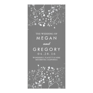 Baby's Breath Grey and Silver Wedding Program Rack Card