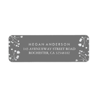 Baby's Breath Grey and Silver Wedding Return Address Label
