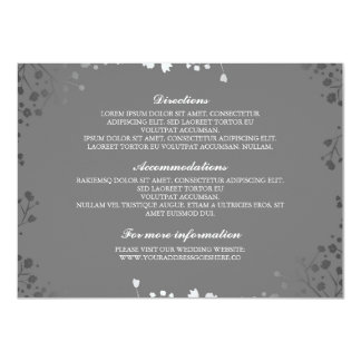 Baby's Breath Grey Silver Wedding Details Card