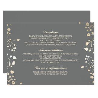 Baby's Breath Grey Wedding Details - Information 11 Cm X 16 Cm Invitation Card