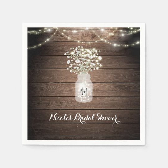 Baby's Breath & Lights Rustic Wedding Reception Paper