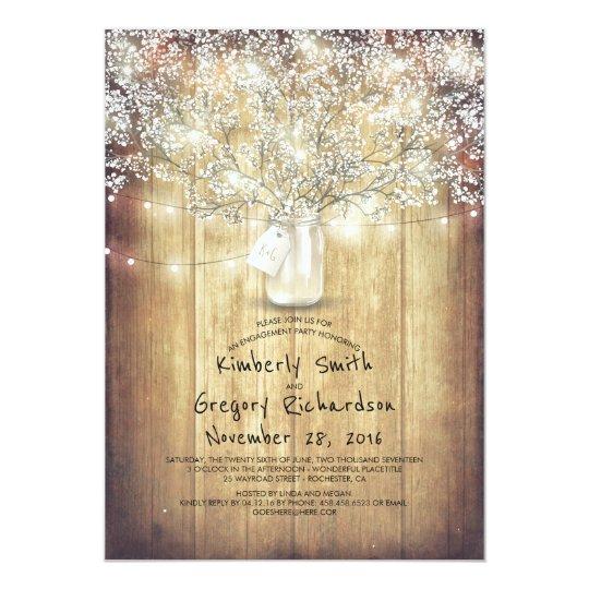 Baby's Breath Mason Jar Barn Engagement Party Card