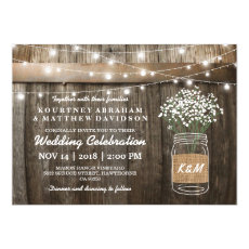 Babys Breath Mason Jar Country Rustic Wedding Invitation