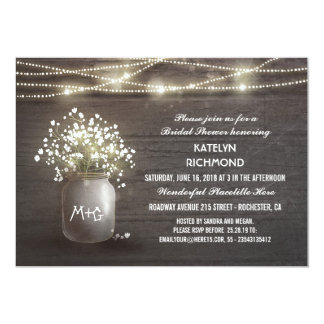 Baby's Breath Mason Jar Lights Bridal Shower 13 Cm X 18 Cm Invitation Card