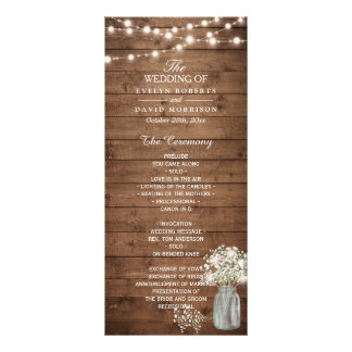 Baby's Breath Mason Jar Lights Wedding Program Rack Card