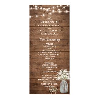Baby's Breath Mason Jar Lights Wedding Program Rack Cards