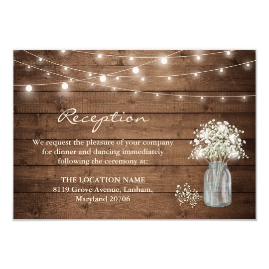 Baby's Breath Mason Jar Lights Wedding Reception Card