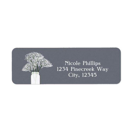 Baby's Breath Mason Jar Rustic Grey Address Labels