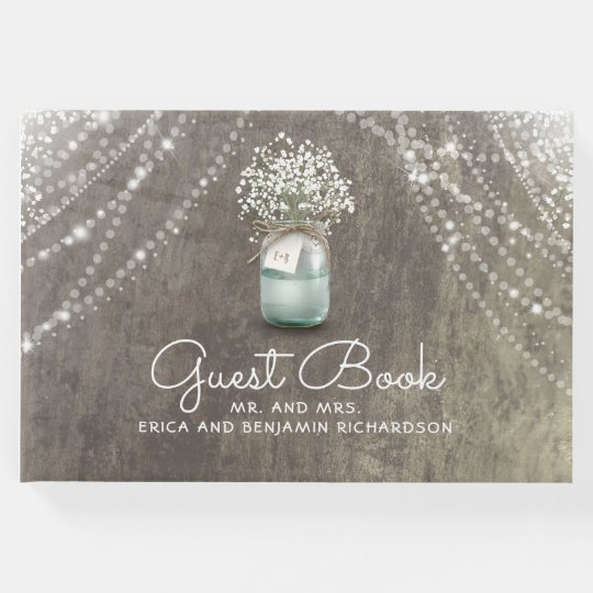 Baby's Breath Mason Jar Rustic Wedding Guest Book