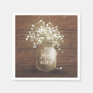 Baby's Breath Mason Jar Rustic Wedding Paper Napkin