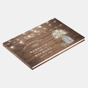 Baby's Breath Mason Jar Rustic Wood Lights Wedding Guest Book