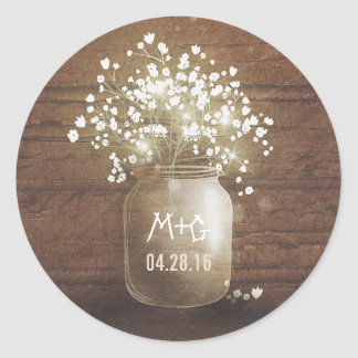 Baby's Breath Mason Jar Rustic Wood Wedding Classic Round Sticker