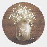Baby's Breath Mason Jar Rustic Wood Wedding Round Sticker