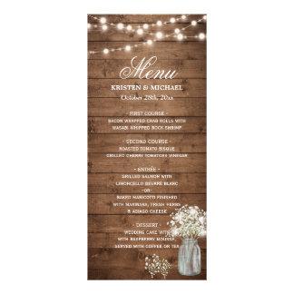 Baby's Breath Mason Jar String Lights Wedding Menu