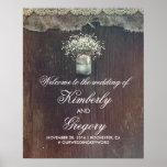 Baby's Breath Mason Jar Wedding Welcome Sign