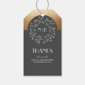 Baby's Breath Monogram Gold Grey Wedding Gift Tags