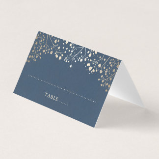 Baby's Breath Navy Blue and Gold Wedding Place Card