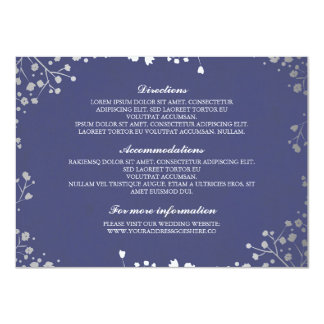 Baby's Breath Navy Silver Wedding Details Card