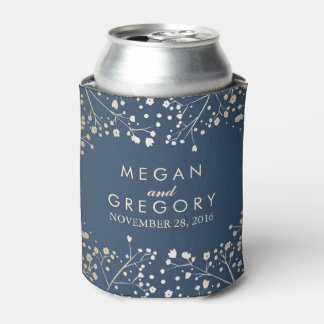 Baby's Breath Navy Wedding Can Cooler