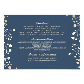 Baby's Breath Navy Wedding Details - Information 11 Cm X 16 Cm Invitation Card