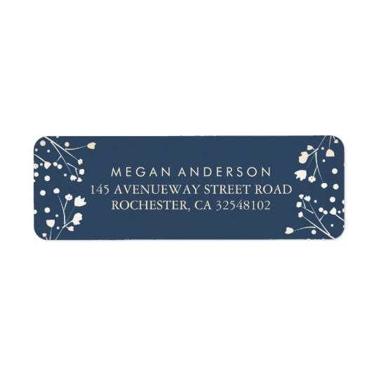 Baby's Breath Navy Wedding Return Address Label